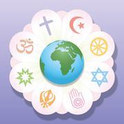 Religions United World Flower Peace Symbols - stock illustration