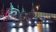 View of Tverskaya street from Manezhnaya square Stock Footage