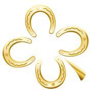 Clover Leaf Horseshoe Luck Symbol Stock Illustration