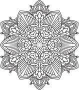 Abstract vector black round lace design - mandala, ethnic decorative element. - stock illustration