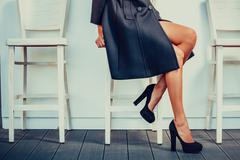 Woman with black high heels - stock photo