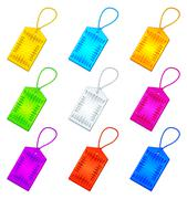Color tags with ropes, set Stock Illustration