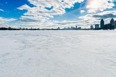 Frozen Dnieper River in Kiev, Ukraine, During Winter Stock Photos