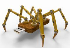 Yellow Robot USB Flash Spider - stock illustration