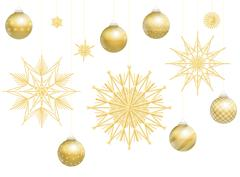 Christmas Balls Golden Straw Stars Decoration Stock Illustration