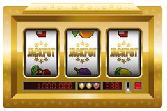 Jackpot Slot Machine Gold - stock illustration