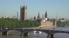 4K Aerial view Palace Westminster traffic car bridge famous London capital icon Stock Footage
