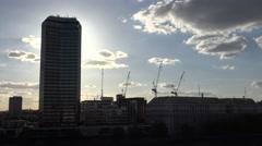 4K London center architecture modern skyscraper silhouette traffic street emblem Stock Footage