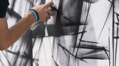 Black and white graffiti Stock Footage