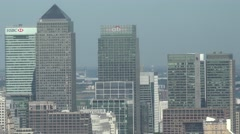 4K Closeup Canary Wharf financial district London modern skyscraper corporate UK Stock Footage