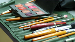 Make-up cosmetic tools brushes Stock Footage