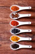 Spices in ceramic bowls Stock Photos