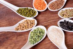 Cereals in ceramic bowls - stock photo