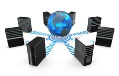 3d of network workstation servers. - stock illustration