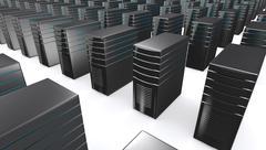Stock Illustration of 3d of network workstation servers.