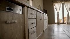 Retro wooden kitchen ambient jib-shot 4K - stock footage
