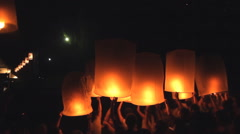 Release floating lanterns to the sky Stock Footage