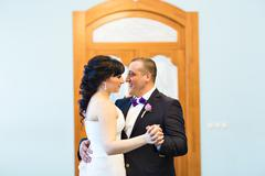 Wedding dance of bride and groom Stock Photos