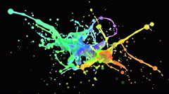 4k multi color paint splash in slow motion isolated on black with alpha Stock Footage