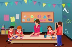 Kids in Preschool Stock Illustration