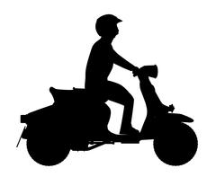 Scooter Rider Silhouette - stock illustration