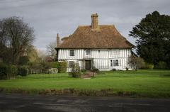 Ancient Half-Timbered Cottage - stock photo
