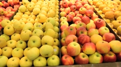 Travelling view of fruits stall in supermarket Stock Footage