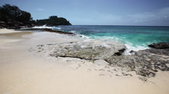 Seychelles beach with blue ocean view. Big Waves. Stock Footage
