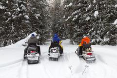 Three friends on snowmobiles. Stock Photos