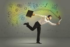 Business man in a rush with doodle media icons - stock photo