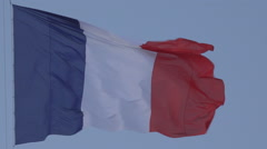 Stock Video Footage of France Flag in Sunset, French Banner Waving in Dawn on a Blue Sky