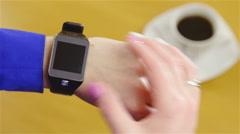 Person swipe through smartwatch screen 4K Arkistovideo