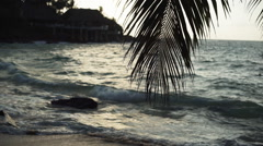 Seychelles beach with blue ocean view Stock Footage