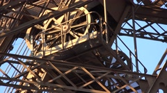 4K Eiffel Tower Detail Elevator Paris Attraction Closeup Tourists Traveling View Stock Footage