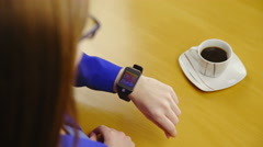 Brown hair woman talking to smartwatch 4K Stock Footage