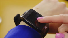 Finger swipe on smartwatch black screen closeup 4K Stock Footage
