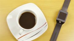 Sliding over coffee and wristwatch closeup 4K Stock Footage