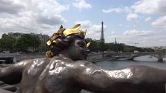 4K Eiffel Tower Seen on Alexander III Bridge in Paris View Boats on Seine River Stock Footage