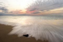 Ocean Sunset Beach Waves - stock photo