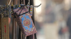 View of wallets and bracelets with traditional design in Sarajevo Stock Footage