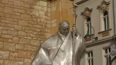 Karol Wojtyla statue in front of Sacred Heart Cathedral, Sarajevo Stock Footage