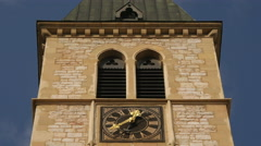 The clock tower of Sacred Heart Cathedral in Sarajevo Stock Footage