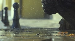 Water droplets fall to the super slow motion and spectacular splashes Stock Footage