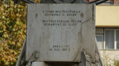 """The pedestal of """"A multicultural man will build the world"""" statue in Sarajevo - stock footage"""