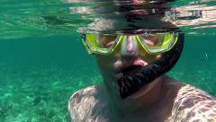 Man Snorkeling Swimming Diving In Sea Palau Micronesia Pacific Ocean - stock footage