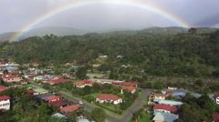 Aerial Shot of Rainbow over Boquete Panama Stock Footage