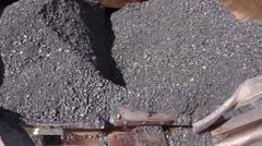 Tarmac road laying machine. Asphalt spreader. - stock footage
