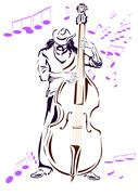 Jazz musician with contrabass Stock Illustration