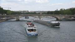 4K Tourists Boats on Seine River in Paris, People Traveling by Ships Europa View Stock Footage