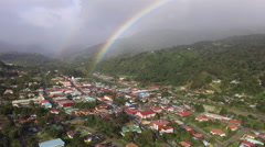 Aerial Pan of Rainbow over Boquete Panama Stock Footage